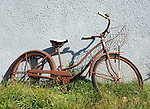 Rusty girls bicycle with bell and basket against gray wall West Virginia, Fine Art Photography by Ron Bennett, Fine Art, Fine Art photography, Art Photography, Copyright RonBennettPhotography.com ©