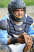 Catcher Tomas Telis (17) of the Myrtle Beach Pelicans prior to a game against the Frederick Keys on August 4, 2012, at TicketReturn.Com Field in Myrtle Beach, South Carolina. Myrtle Beach won, 4-3. (Tom Priddy/Four Seam Images).