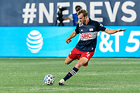 FOXBOROUGH, MA - AUGUST 29: Henry Kessler #4 of New England Revolution passes the ball during a game between New York Red Bulls and New England Revolution at Gillette Stadium on August 29, 2020 in Foxborough, Massachusetts.