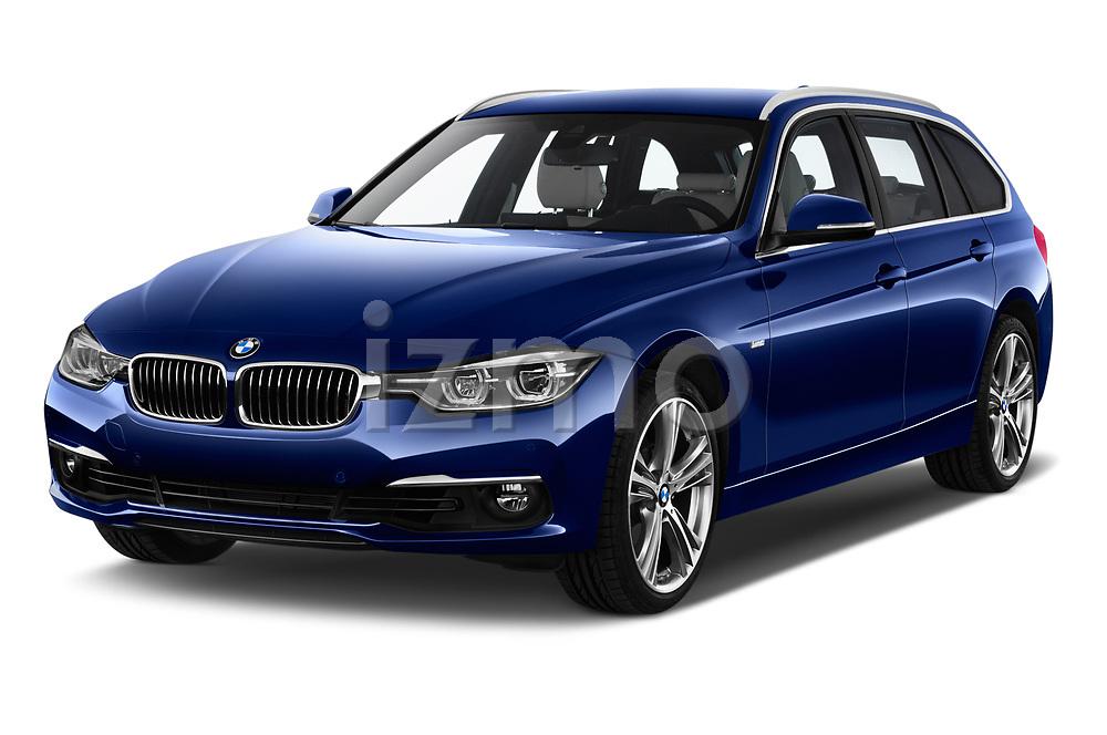 2017 BMW 3 Series Touring Luxury 5 Door Wagon angular front stock photos of front three quarter view