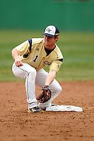 Georgia Tech Yellow Jackets infielder Connor Winn #1 during a game versus the Boston College Eagles at Shea Field on the campus of Boston College in Chestnut Hill, Massachusetts on March 24, 2012.  (Ken Babbitt/Four Seam Images)