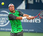 Lleyton Hewitt (AUS) fell to Milos Raonic (CAN) by 76(1) 76(3) at the Citi Open in Washington, DC on July 31, 2014.