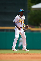 Montgomery Biscuits shortstop Lucius Fox (1) during a Southern League game against the Mobile BayBears on May 2, 2019 at Riverwalk Stadium in Montgomery, Alabama.  Mobile defeated Montgomery 3-1.  (Mike Janes/Four Seam Images)