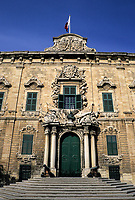 Valletta, Malta.  Auberge de Castille, now the Prime Minister's Office.  Begun in 1574, finished in 1744, this building originally housed the Castillian and Portuguese knights of Saint John.
