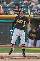Bo Way (10) of the Salt Lake Bees bats against the Nashville Sounds at Smith's Ballpark on July 28, 2018 in Salt Lake City, Utah. The Bees defeated the Sounds 11-6. (Stephen Smith/Four Seam Images)