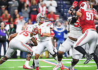Indianapolis, IN - DEC 7, 2019: Ohio State Buckeyes quarterback Justin Fields (1) stands tall in the pocket during Big Ten Championship game between Wisconsin and Ohio State at Lucas Oil Stadium in Indianapolis, IN. Ohio State came back from a 21-7 deficit at halftime to beat Wisconsin 34-21 to win its third straight Big Ten Championship. (Photo by Phillip Peters/Media Images International)