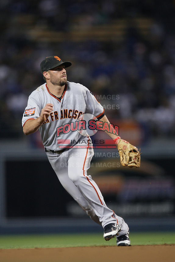 Kevin Frandsen of the San Francisco Giants during a game from the 2007 season at Dodger Stadium in Los Angeles, California. (Larry Goren/Four Seam Images)