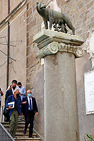 One of the candidates mayor of Rome at the next elections Roberto Gualtieri, under the Capitoline wolf, the symbol of Rome, during a conference in the Giulio Cesare hall of the Campidoglio. <br /> Rome (Italy), September 15th 2021<br /> Photo Samantha Zucchi Insidefoto