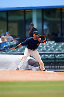 Mobile BayBears first baseman Luis Tejada (19) receives a throw during a game against the Pensacola Blue Wahoos on April 26, 2017 at Hank Aaron Stadium in Mobile, Alabama.  Pensacola defeated Mobile 5-3.  (Mike Janes/Four Seam Images)