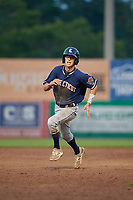 Connecticut Tigers shortstop Cole Peterson (20) runs the bases during a game against the Auburn Doubledays on August 9, 2017 at Falcon Park in Auburn, New York.  Connecticut defeated Auburn 6-4.  (Mike Janes/Four Seam Images)