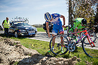 Bjorn Leukemans (BEL/Wanty-Groupe Gobert)  crashed & with a bruised right arm is checking his bike to get going again<br /> <br /> 55th Brabantse Pijl 2015