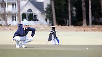 PINEHURST, NC - MARCH 02: Ryan Gerard of the University of North Carolina lines up a putt on the third hole at Pinehurst No. 2 on March 02, 2021 in Pinehurst, North Carolina.