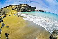 Papakolea Beach, aka Green Sand Beach or Mahana Beach, Mahana Bay, near Ka Lae aka South Point, Big Island, Hawaii, USA, Pacific Ocean