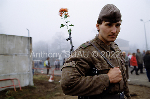 Lichterfelde, Berlin (West) and Teltow, Potsdam (East) crossing post, West Germany<br /> November 14, 1989 <br /> <br />  A guard stands with a flower in his gun near the Berlin Wall. Germans gathered as the wall is dismantled and the East German government lifts travel and emigration restrictions to the West on November 9, 1989.