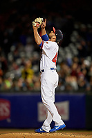 Buffalo Bisons relief pitcher Leonel Campos (45) looks to the sky after closing out the game against the Pawtucket Red Sox on August 31, 2017 at Coca-Cola Field in Buffalo, New York.  Buffalo defeated Pawtucket 4-2.  (Mike Janes/Four Seam Images)