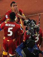 Kevin Prince Boateng of Ghana celebrates his goal with team-mates in front of television cameras. USA vs Ghana in the 2010 FIFA World Cup at Royal Bafokeng Stadium in Rustenburg, South Africa on June 26, 2010.