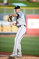 Reno Aces starting pitcher Frank Duncan (21) warms up in the bullpen before the game against the Salt Lake Bees in Pacific Coast League action at Smith's Ballpark on June 15, 2017 in Salt Lake City, Utah. The Aces defeated the Bees 13-5. (Stephen Smith/Four Seam Images)