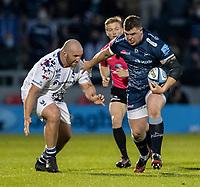 28th May 2021; AJ Bell Stadium, Salford, Lancashire, England; English Premiership Rugby, Sale Sharks versus Bristol Bears; James Harper of Sale Sharks is tackled