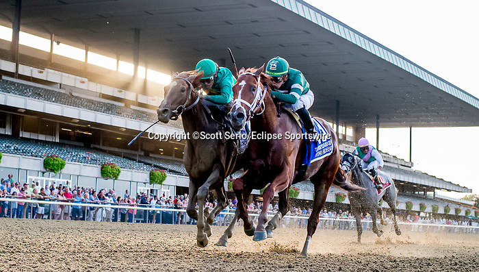 September 28, 2019 : Code of Honor #2, ridden by John Velazquez and Vino Rosso #3, ridden by Irad Ortiz, battle to the wire in the Jockey Club Gold Cup during Jockey Club Gold Cup Day at Belmont Park Race Track in Elmont, New York. Vino Rosso finished first, but was disqualified and Code of Honor was placed first. Scott Serio/Eclipse Sportswire/CSM