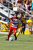 28 AUGUST 2010:  FC Dallas' David Ferreira (10) and Adam Moffat of the Columbus Crew (22) during MLS soccer game between FC Dallas vs Columbus Crew at Crew Stadium in Columbus, Ohio on August 28, 2010.