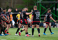 Abbas Miski of London Broncos celebrates his try with Greg Richards of London Broncos during the Betfred Championship match between London Broncos and Newcastle Thunder at The Rock, Rosslyn Park, London, England on 9 May 2021. Photo by Liam McAvoy.
