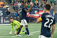 FOXBOROUGH, MA - SEPTEMBER 21: Juan Fernando Caicedo #9 of New England Revolution applauds hits teammates after nearly getting past Andrew Putna #51 of Real Salt Lake during a game between Real Salt Lake and New England Revolution at Gillette Stadium on September 21, 2019 in Foxborough, Massachusetts.