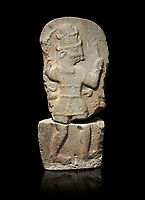 Hittite monumental relief sculpture of a god probably about to kill a lion (missing) with his axe. Late Hittite Period - 900-700 BC. Adana Archaeology Museum, Turkey. Against a black background