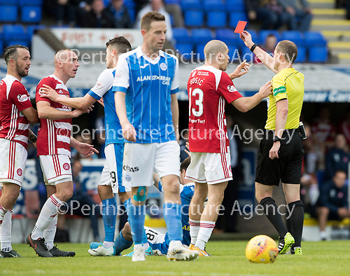 St Johnstone v Hamilton Accies…23.09.17…  McDiarmid Park… SPFL<br />Ref Willie Collum sends off Darian MacKinnon as Alex Gogic appeals<br />Picture by Graeme Hart. <br />Copyright Perthshire Picture Agency<br />Tel: 01738 623350  Mobile: 07990 594431