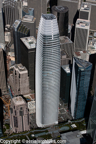 aerial photograph of the Salesforce Tower, San Francisco, California