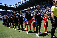 SAN JOSE, CA - JUNE 8: San Jose Earthquakes during the playing of the national anthem during a game between FC Dallas and San Jose Earthquakes at Avaya Stadium on June 8, 2019 in San Jose, California.