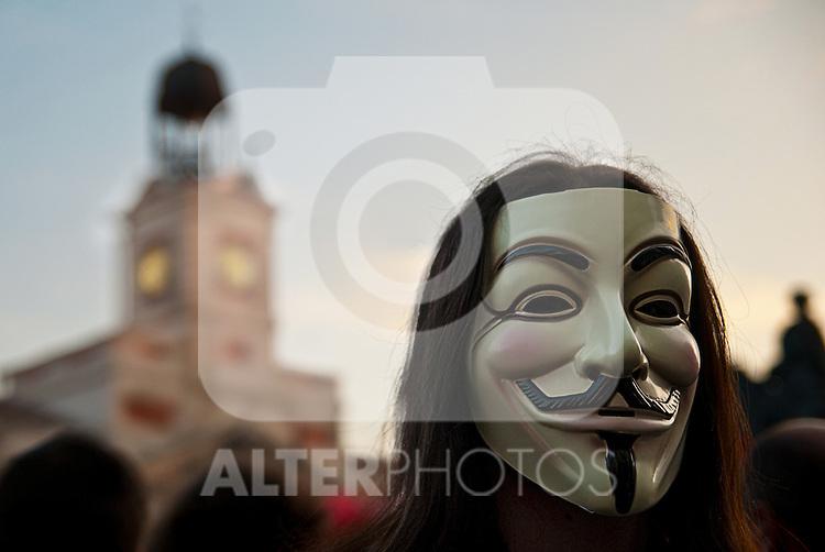 Demonstrators march on Madrid's Gran Via..(ALTERPHOTOS/Muñoz Alconada)