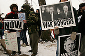 WASHINGTON DC - JANUARY 20: Anti-Bush/war protesters in Malcolm X park before marching to the parade route January 20, 2005 in Washington DC. (photo by Anthony Suau)
