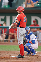 Nonie Williams (27) of the Orem Owlz bats against the Ogden Raptors at Lindquist Field on August 4, 2018 in Ogden, Utah. The Owlz defeated the Raptors 15-12. (Stephen Smith/Four Seam Images)