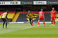 GOAL - Joao Pedro (10) of Watford (3rd right) celebrates after he scores the opening goal during the Sky Bet Championship match between Watford and Luton Town at Vicarage Road, Watford, England on 26 September 2020. Photo by David Horn.