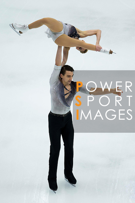 TAIPEI, TAIWAN - JANUARY 22:  Alexa Scimeca and Chris Knierim of USA compete in the Pairs Short Program event during the Four Continents Figure Skating Championships on January 22, 2014 in Taipei, Taiwan.  Photo by Victor Fraile / Power Sport Images *** Local Caption *** Alexa Scimeca; Chris Knierim