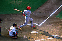 SAN FRANCISCO, CA - Barry Larkin of the Cincinnati Reds bats against the San Francisco Giants during a game in 1996 at Candlestick Park in San Francisco, California. (Photo by Brad Mangin)