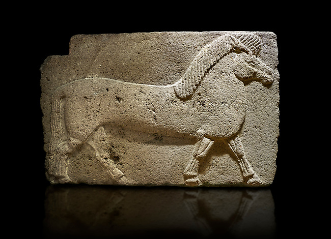Phrygian relief sculpted orthostat stone panel. Andesite, Kucukevler, Ankara., 1200-700 B.C. Walking horse. Muscles in the legs of the figure are schematic. Anatolian Civilizations Museum, Ankara, Turkey.<br /> <br /> Against a black background.