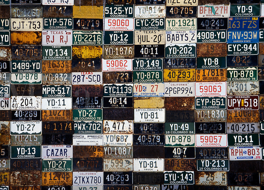 Collection of license plates.<br />