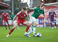 Lincoln City's Harry Anderson shields the ball from Accrington Stanley's Cameron Burgess<br /> <br /> Photographer Andrew Vaughan/CameraSport<br /> <br /> The EFL Sky Bet League One - Accrington Stanley v Lincoln City - Saturday 21st November 2020 - Crown Ground - Accrington<br /> <br /> World Copyright © 2020 CameraSport. All rights reserved. 43 Linden Ave. Countesthorpe. Leicester. England. LE8 5PG - Tel: +44 (0) 116 277 4147 - admin@camerasport.com - www.camerasport.com