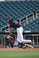 AZL Indians 1 first baseman Michael Cooper (39) starts down the first base line during an Arizona League game against the AZL White Sox at Goodyear Ballpark on June 20, 2018 in Goodyear, Arizona. AZL Indians 1 defeated AZL White Sox 8-7. (Zachary Lucy/Four Seam Images)