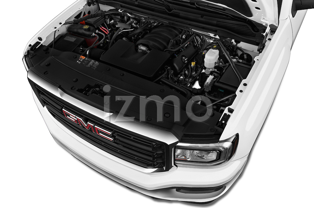 Car Stock 2018 GMC Sierra 1500 2WD Crew Cab Short Box 4 Door Pick-up Engine  high angle detail view