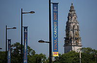 Pictured: UEFA Champions League banners on with the County Hall in the background Thursday 25 May 2017<br /> Re: Preparations for the UEFA Champions League final, between Real Madrid and Juventus in Cardiff, Wales, UK.