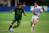 LAKE BUENA VISTA, FL - AUGUST 11: Eryk Williamson #30 of the Portland Timbers dribbles the ball during a game between Orlando City SC and Portland Timbers at ESPN Wide World of Sports on August 11, 2020 in Lake Buena Vista, Florida.