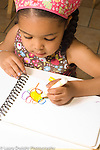 preschool ages 3-5 art activity girl drawing with marker using left hand