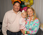Polly and Jeff Johnson with Elizabeth,2,   at the MD Anderson Children's Cancer Hospital, Bunny Hops and Photo Ops at The Galleria Saturday March 21,2016.(Dave Rossman Photo)