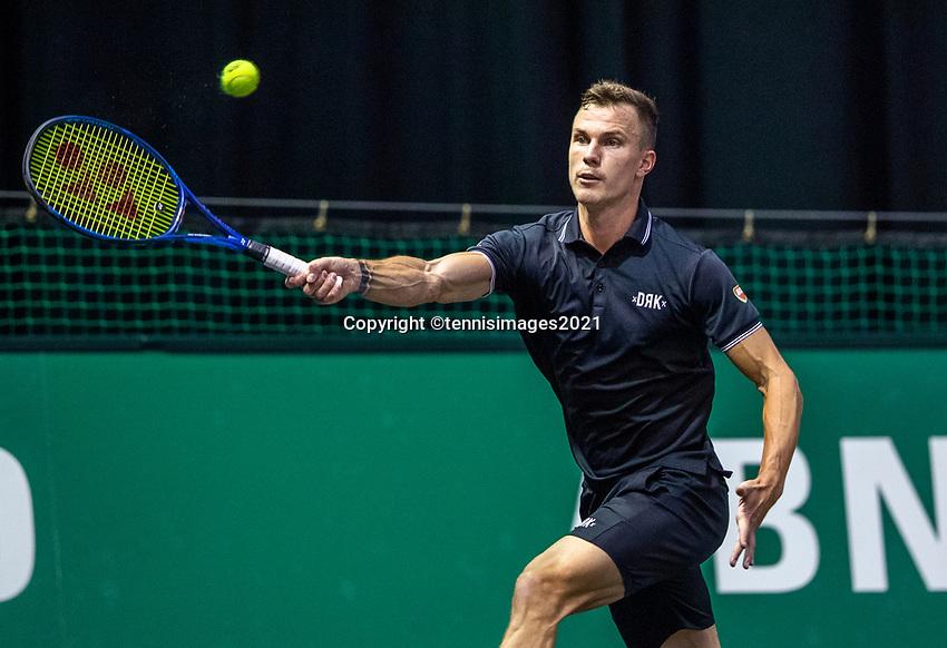 Rotterdam, The Netherlands, 27 Februari 2021, ABNAMRO World Tennis Tournament, Ahoy, Qualyfying match: Marton Fucsovics (HUN)<br /> Photo: www.tennisimages.com/henkkoster