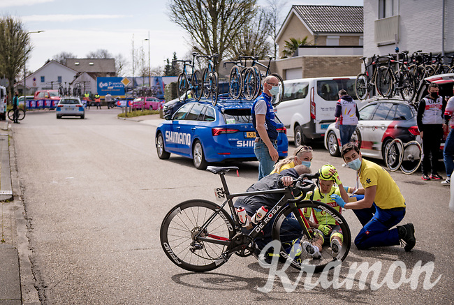 unfortunate crash in the feedzone by Arjen Livyns (BEL/Bingoal Pauwels Sauces WB)<br /> <br /> 55th Amstel Gold Race 2021 (1.UWT)<br /> 1 day race from Valkenburg to Berg en Terblijt; raced on closed circuit (NED/217km)<br /> <br /> ©kramon