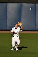 Vanderbilt Commodores outfielder Bryan Reynolds (20) catches a fly ball during a game against the Indiana State Sycamores on February 20, 2015 at Charlotte Sports Park in Port Charlotte, Florida.  Vanderbilt defeated Indiana State 3-2.  (Mike Janes/Four Seam Images)