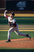 Virginia Tech Hokies starting pitcher Aaron McGarity (31) delivers a pitch to the plate against the Wake Forest Demon Deacons in game two of a doubleheader at Wake Forest Baseball Park on March 7, 2015 in Winston-Salem, North Carolina.  (Brian Westerholt/Four Seam Images)