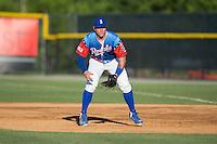 Burlington Royals first baseman Chris DeVito (34) on defense against the Bluefield Blue Jays at Burlington Athletic Stadium on June 26, 2016 in Burlington, North Carolina.  The Blue Jays defeated the Royals 4-3.  (Brian Westerholt/Four Seam Images)